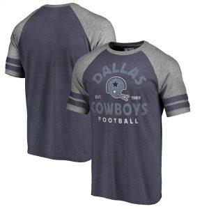 Thumbnail 0Thumbnail 1Thumbnail 2 Men's Dallas Cowboys NFL Pro Line by Fanatics Branded Navy Timeless Collection Vintage Arch Tri-Blend Raglan T-Shirt